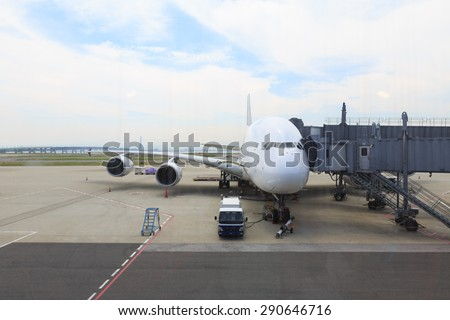 TOKYO, JAPAN - MAY 21: Thai Airways flight at the docking in Narita International Airport, Tokyo, Japan on May 21, 2015