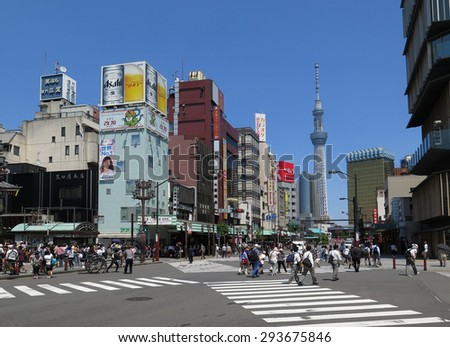 TOKYO, JAPAN - MAY 26 : Tokyo Skytree Tower view from Asakusa taken May 26, 2015. Tokyo Skytree is a new television broadcasting tower and entertainment building in Tokyo. - stock photo