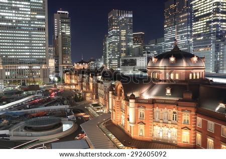 TOKYO JAPAN - MAY 22, 2015: Tokyo station night cityscape. Tokyo train station is a hub of Japan's JR train network.  - stock photo