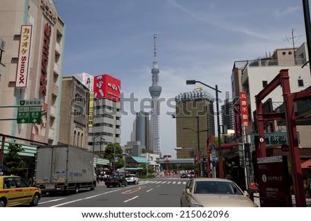 TOKYO,JAPAN - MAY 28 : View of TOKYO Skytree(634m) from Senso-Ji temple, the second highest structure in the world on May 28,2014 in Tokyo,Japan.