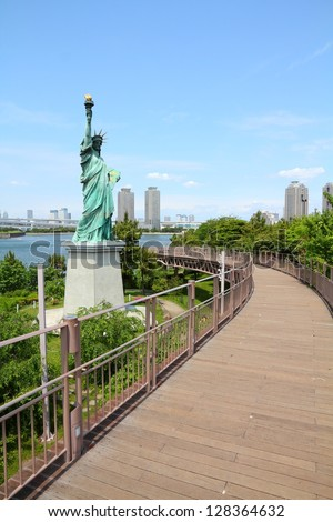 Tokyo, Japan - replica of Statue of Liberty at famous Odaiba island - stock photo