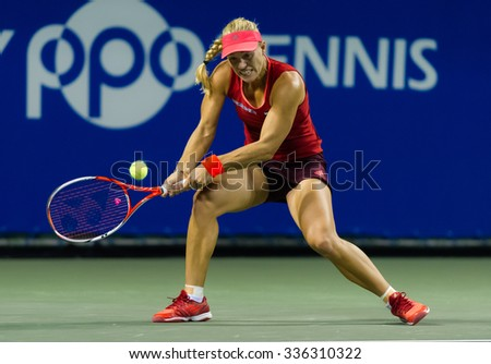 TOKYO, JAPAN - SEPTEMBER 25 :  Angelique Kerber in action at the 2015 Toray Pan Pacific Open WTA Premier tennis tournament
