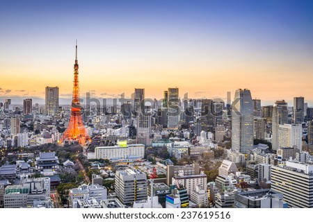 Tokyo, Japan skyline at Tokyo Tower. - stock photo