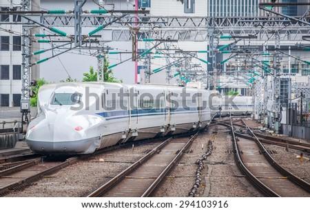 Tokyo- June 22 : The Shinkansen bullet train network of high-speed railway lines in Japan on June 22, 2015 in Tokyo Japan - stock photo