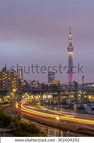 TOKYO - June 28 :View of Tokyo Sky Tree (634m) at night, the highest free-standing structure in Japan and 2nd in the world with over 10million visitors each year on June 28 , 2015 in Tokyo Japan  - stock photo