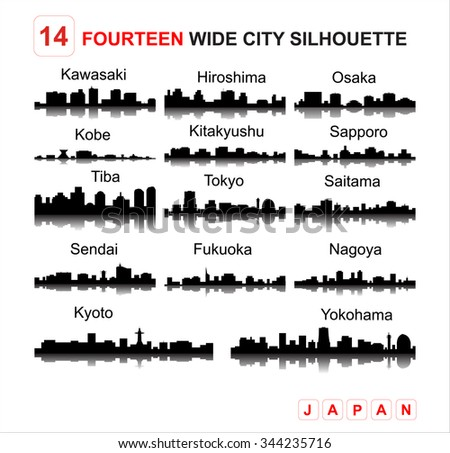 Tokyo Kyoto Kawasaki Kobe Sapporo Hiroshima Sendai Tiba Saitama & Yokohama silhouettes skyline - stock photo