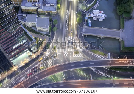 Tokyo Night Crossing. I took it from the high place. - stock photo