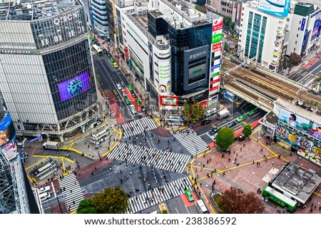 TOKYO - NOVEMBER 12: Shibuya Crossing November 12, 2014 in Tokyo, Japan. The crossing is one of the world's most well known examples of a scramble crosswalk. - stock photo