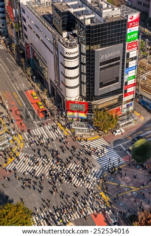 TOKYO - NOVEMBER 15: Shibuya Crossing November 12, 2014 in Tokyo, Japan. The crossing is one of the world's most well known examples of a scramble crosswalk. - stock photo