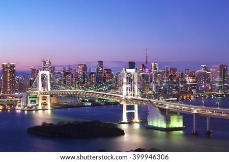 Tokyo rainbow bridge and Tokyo tower. Tokyo, Japan. - stock photo