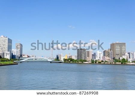 Tokyo Sky Tree and Sumida river - stock photo