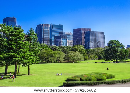 Attractive Tokyo Skyline In The Imperial Palace East Gardens, Japan