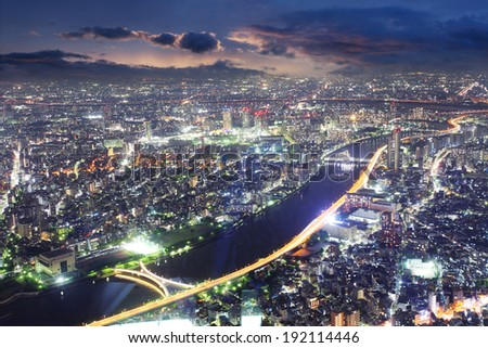 Tokyo skyline panorama at night from Tokyo Tower, Japan - stock photo