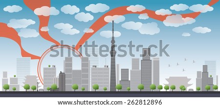 Tokyo skyline with skyscrapers and sun. Business travel and tourism concept with modern buildings. Image for presentation, banner, placard and web site