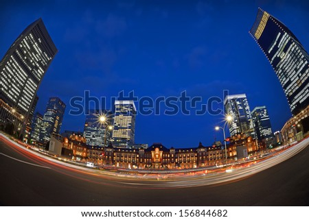 Tokyo Station at Night Scene with very wide scene - stock photo