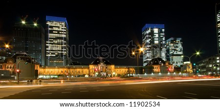 Tokyo station night view - stock photo