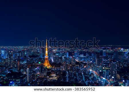 Tokyo tower and Orion Constellation - stock photo