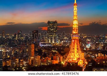 Tokyo Tower  Twilight   - stock photo