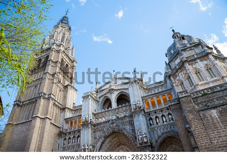 Toledo Cathedral facade, spanish church - stock photo