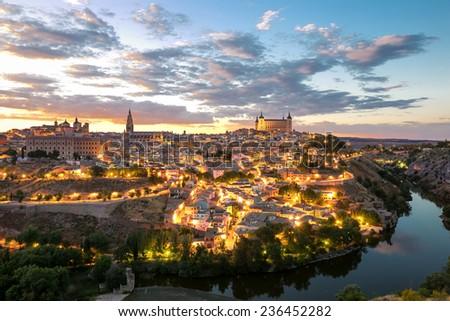 Toledo Cityscape with Alcazar in Madrid Spain - stock photo