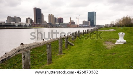 Toledo Ohio Waterfront Downtown City Skyline Maumee River - stock photo