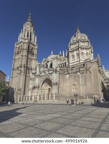 TOLEDO, SPAIN - SEPTEMBER 26, 2011: Cathedral of Saint Mary in medieval town of Toledo, Spain