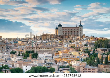 Toledo, Spain town city view at the alcazar - stock photo