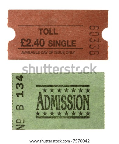 TOLL single ticket and green General admission  ticket - stock photo