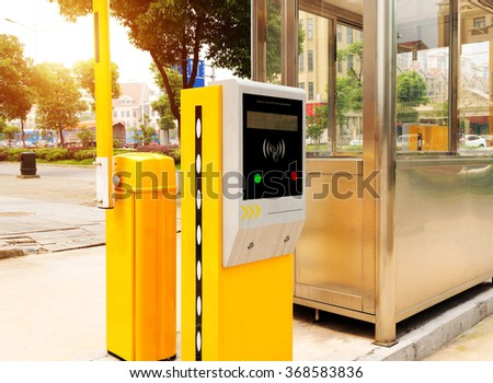 Tollbooth in underground car park - stock photo