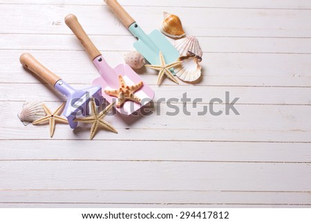 Tolls  for kids for sand and sea object on white  painted wooden background. Place for text.  - stock photo