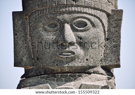Toltec Warrior which topping the Pyramid of Quetzalcoatl in Tula - Mesoamerican archaeological site, Mexico - stock photo