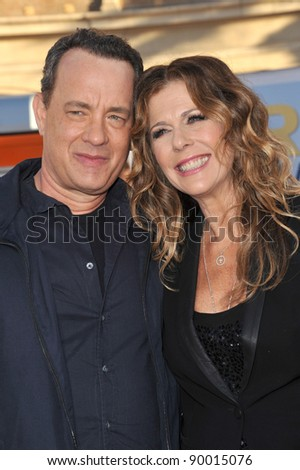 """Tom Hanks & actress wife Rita Wilson at the world premiere of their new movie """"Larry Crowne"""" at Grauman's Chinese Theatre, Hollywood. June 27, 2011  Los Angeles, CA Picture: Paul Smith / Featureflash - stock photo"""