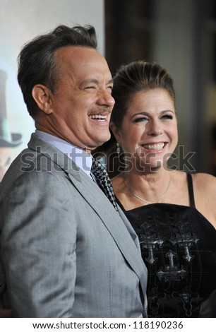 """Tom Hanks & wife Rita Wilson at the Los Angeles premiere of his new movie """"Cloud Atlas"""" at Grauman's Chinese Theatre, Hollywood. October 24, 2012  Los Angeles, CA - stock photo"""