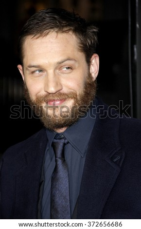"""Tom Hardy at the Los Angeles premiere of """"This Means War"""" held at the Grauman's Chinese Theatre in Hollywood, USA on February 8, 2012. - stock photo"""