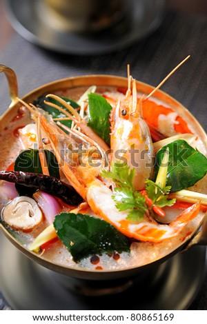 Tom Yum soup, a Thai traditional spicy prawn soup - stock photo