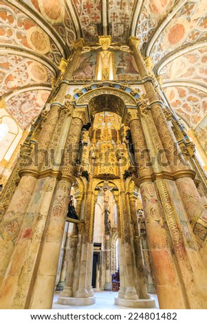 TOMAR,PORTUGAL - May 30 : Interior of the church Dom Joao III Cloister on May 30, 2014.the Templar Convent of Christ is UNESCO World Heritage.