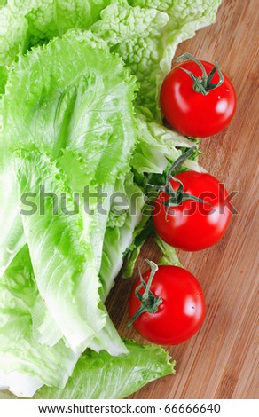 Tomato and leaf lettuce - stock photo