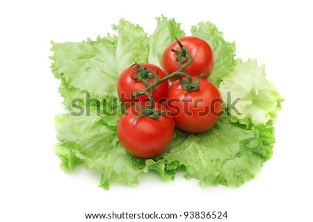Tomato and lettuce salad isolated on the white background