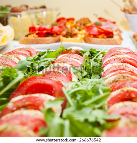 Tomato and mozzarella on an appetizer table - stock photo