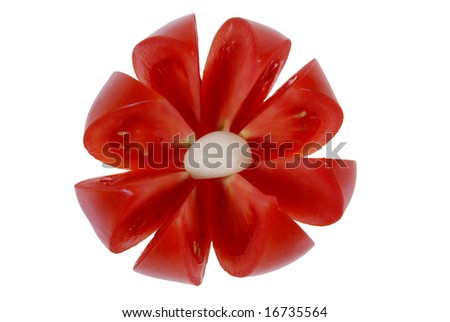 tomato arranged in flower form isolated on white background