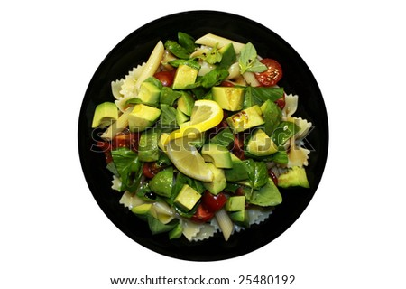 Tomato Basil Avocado Lemon Salad - stock photo