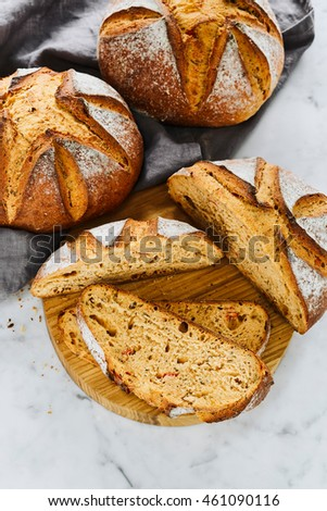 Tomato Basil Bread loaves