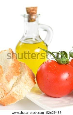 Tomato Bread and Olive Oil Isolated On White - stock photo
