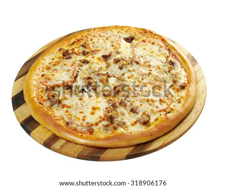 Tomato cheese Pizza.  Studio. Isolated on white background.