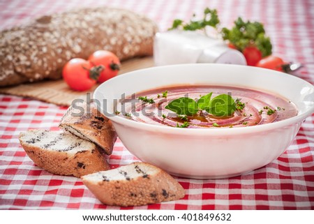 Tomato gazpacho soup with tomatos, Spanish cuisine