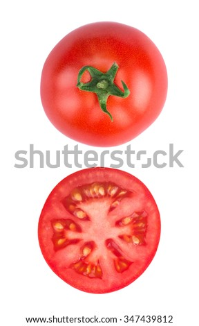 Tomato half slice isolated on white background, top view - stock photo