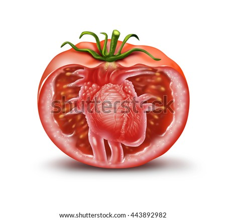 Tomato heart health medical icon as a fruit and vegetable healthcare symbol for natural antioxidant and cardiovascular nutrition supplement rich in lycopene or carotenoids in a 3D illustration style.