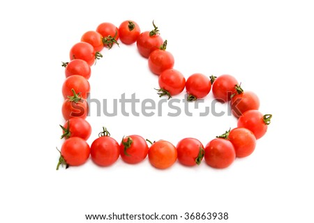 tomato heart on white background - stock photo