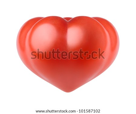 Tomato in the form of heart on a white background - stock photo