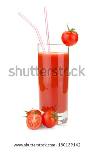 Tomato juice in a glass and cherry tomatoes. Isolated on white background